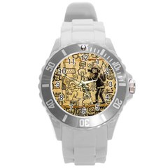 Mystery Pattern Pyramid Peru Aztec Font Art Drawing Illustration Design Text Mexico History Indian Round Plastic Sport Watch (L)