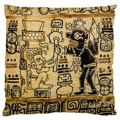 Mystery Pattern Pyramid Peru Aztec Font Art Drawing Illustration Design Text Mexico History Indian Large Cushion Case (Two Sides)