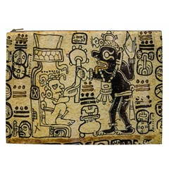 Mystery Pattern Pyramid Peru Aztec Font Art Drawing Illustration Design Text Mexico History Indian Cosmetic Bag (XXL)