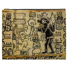 Mystery Pattern Pyramid Peru Aztec Font Art Drawing Illustration Design Text Mexico History Indian Cosmetic Bag (XXXL)