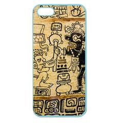 Mystery Pattern Pyramid Peru Aztec Font Art Drawing Illustration Design Text Mexico History Indian Apple Seamless iPhone 5 Case (Color)