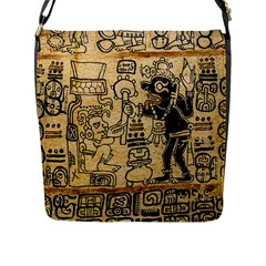 Mystery Pattern Pyramid Peru Aztec Font Art Drawing Illustration Design Text Mexico History Indian Flap Messenger Bag (L)