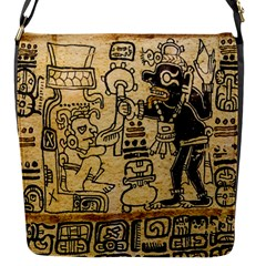 Mystery Pattern Pyramid Peru Aztec Font Art Drawing Illustration Design Text Mexico History Indian Flap Messenger Bag (S)