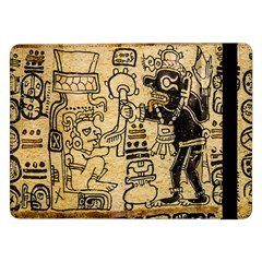 Mystery Pattern Pyramid Peru Aztec Font Art Drawing Illustration Design Text Mexico History Indian Samsung Galaxy Tab Pro 12.2  Flip Case