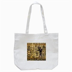 Mystery Pattern Pyramid Peru Aztec Font Art Drawing Illustration Design Text Mexico History Indian Tote Bag (White)
