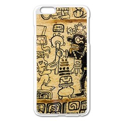 Mystery Pattern Pyramid Peru Aztec Font Art Drawing Illustration Design Text Mexico History Indian Apple iPhone 6 Plus/6S Plus Enamel White Case