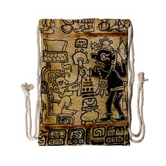 Mystery Pattern Pyramid Peru Aztec Font Art Drawing Illustration Design Text Mexico History Indian Drawstring Bag (Small)