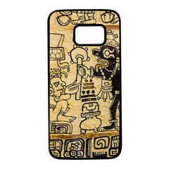 Mystery Pattern Pyramid Peru Aztec Font Art Drawing Illustration Design Text Mexico History Indian Samsung Galaxy S7 Black Seamless Case