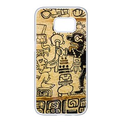 Mystery Pattern Pyramid Peru Aztec Font Art Drawing Illustration Design Text Mexico History Indian Samsung Galaxy S7 edge White Seamless Case