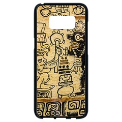 Mystery Pattern Pyramid Peru Aztec Font Art Drawing Illustration Design Text Mexico History Indian Samsung Galaxy S8 Black Seamless Case