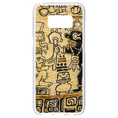 Mystery Pattern Pyramid Peru Aztec Font Art Drawing Illustration Design Text Mexico History Indian Samsung Galaxy S8 White Seamless Case