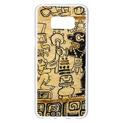 Mystery Pattern Pyramid Peru Aztec Font Art Drawing Illustration Design Text Mexico History Indian Samsung Galaxy S8 Plus White Seamless Case