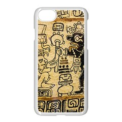 Mystery Pattern Pyramid Peru Aztec Font Art Drawing Illustration Design Text Mexico History Indian Apple iPhone 8 Seamless Case (White)