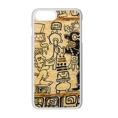 Mystery Pattern Pyramid Peru Aztec Font Art Drawing Illustration Design Text Mexico History Indian Apple iPhone 8 Plus Seamless Case (White)