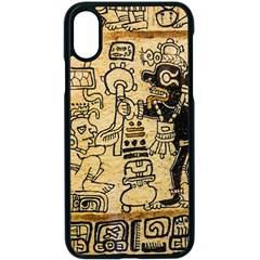 Mystery Pattern Pyramid Peru Aztec Font Art Drawing Illustration Design Text Mexico History Indian Apple iPhone X Seamless Case (Black)