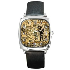 Mystery Pattern Pyramid Peru Aztec Font Art Drawing Illustration Design Text Mexico History Indian Square Metal Watch by Celenk
