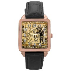 Mystery Pattern Pyramid Peru Aztec Font Art Drawing Illustration Design Text Mexico History Indian Rose Gold Leather Watch  by Celenk