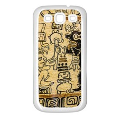 Mystery Pattern Pyramid Peru Aztec Font Art Drawing Illustration Design Text Mexico History Indian Samsung Galaxy S3 Back Case (white) by Celenk