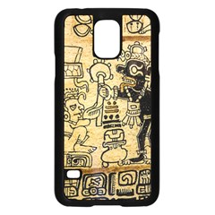 Mystery Pattern Pyramid Peru Aztec Font Art Drawing Illustration Design Text Mexico History Indian Samsung Galaxy S5 Case (black) by Celenk