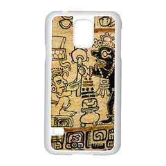 Mystery Pattern Pyramid Peru Aztec Font Art Drawing Illustration Design Text Mexico History Indian Samsung Galaxy S5 Case (white) by Celenk