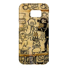 Mystery Pattern Pyramid Peru Aztec Font Art Drawing Illustration Design Text Mexico History Indian Samsung Galaxy S7 Edge Hardshell Case by Celenk