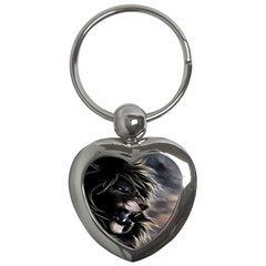 Angry Lion Digital Art Hd Key Chains (heart)  by Celenk