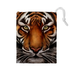 The Tiger Face Drawstring Pouches (large)  by Celenk