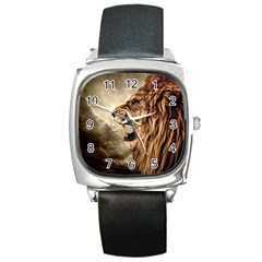 Roaring Lion Square Metal Watch by Celenk
