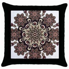 Mandala Pattern Round Brown Floral Throw Pillow Case (black) by Celenk