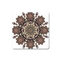 Mandala Pattern Round Brown Floral Square Magnet by Celenk