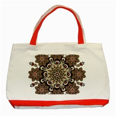Mandala Pattern Round Brown Floral Classic Tote Bag (red) by Celenk