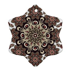 Mandala Pattern Round Brown Floral Snowflake Ornament (two Sides) by Celenk