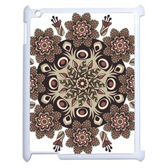 Mandala Pattern Round Brown Floral Apple Ipad 2 Case (white) by Celenk