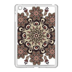 Mandala Pattern Round Brown Floral Apple Ipad Mini Case (white) by Celenk