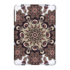 Mandala Pattern Round Brown Floral Apple Ipad Mini Hardshell Case (compatible With Smart Cover) by Celenk