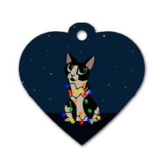 Meowy Christmas Dog Tag Heart (two Sides) by Valentinaart