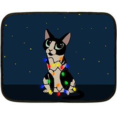 Meowy Christmas Fleece Blanket (mini) by Valentinaart