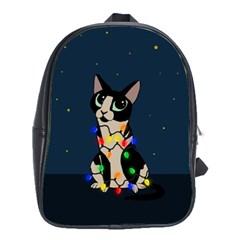 Meowy Christmas School Bag (large) by Valentinaart