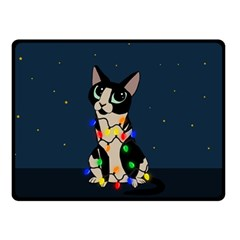 Meowy Christmas Double Sided Fleece Blanket (small)  by Valentinaart