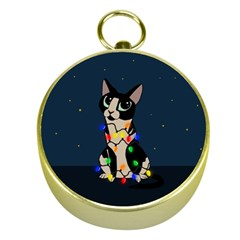 Meowy Christmas Gold Compasses by Valentinaart