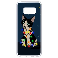 Meowy Christmas Samsung Galaxy S8 White Seamless Case by Valentinaart