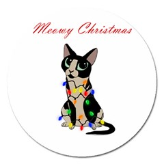 Meowy Christmas Magnet 5  (round) by Valentinaart