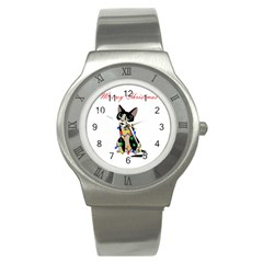 Meowy Christmas Stainless Steel Watch by Valentinaart