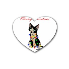 Meowy Christmas Heart Coaster (4 Pack)  by Valentinaart