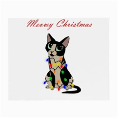 Meowy Christmas Small Glasses Cloth (2 Side) by Valentinaart