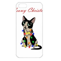 Meowy Christmas Apple Iphone 5 Seamless Case (white) by Valentinaart