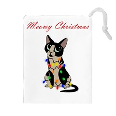 Meowy Christmas Drawstring Pouches (extra Large) by Valentinaart
