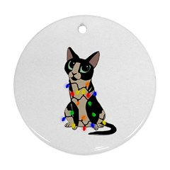 Meowy Christmas Ornament (round) by Valentinaart