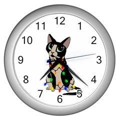 Meowy Christmas Wall Clocks (silver)  by Valentinaart