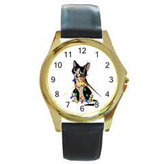 Meowy Christmas Round Gold Metal Watch by Valentinaart